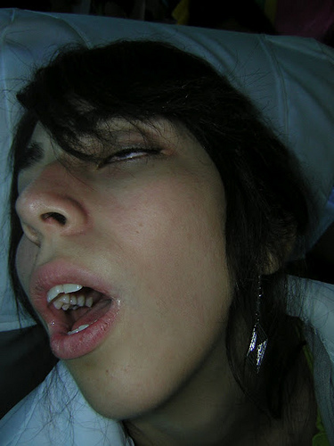 Cum in her sleeping mouth