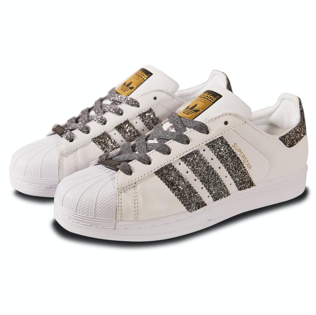 brand new 719b5 4210c Adidas Superstar Custom Simple Glitter Silver
