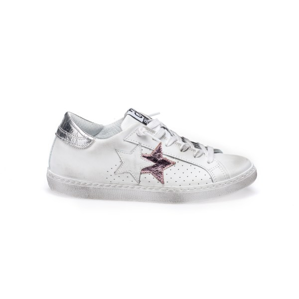 SNEAKER LOW BIANCO-ROSA-ARGENTO
