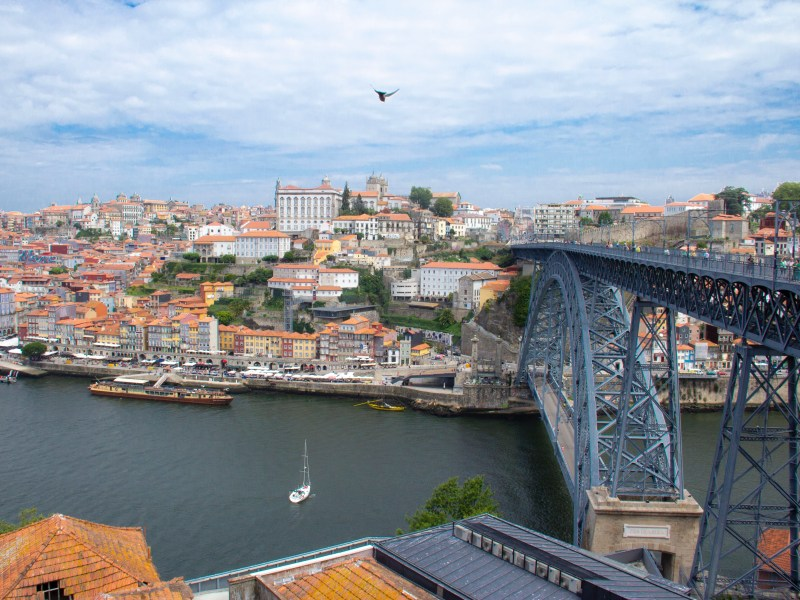 View of the Douro and Ponte de Dom Luís I from Serra do Pilar