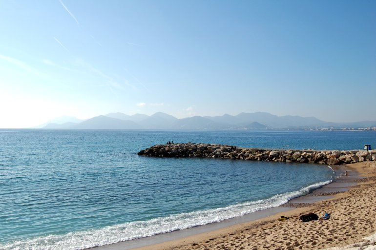 Beach and coastline in the sunshine in Cannes, France