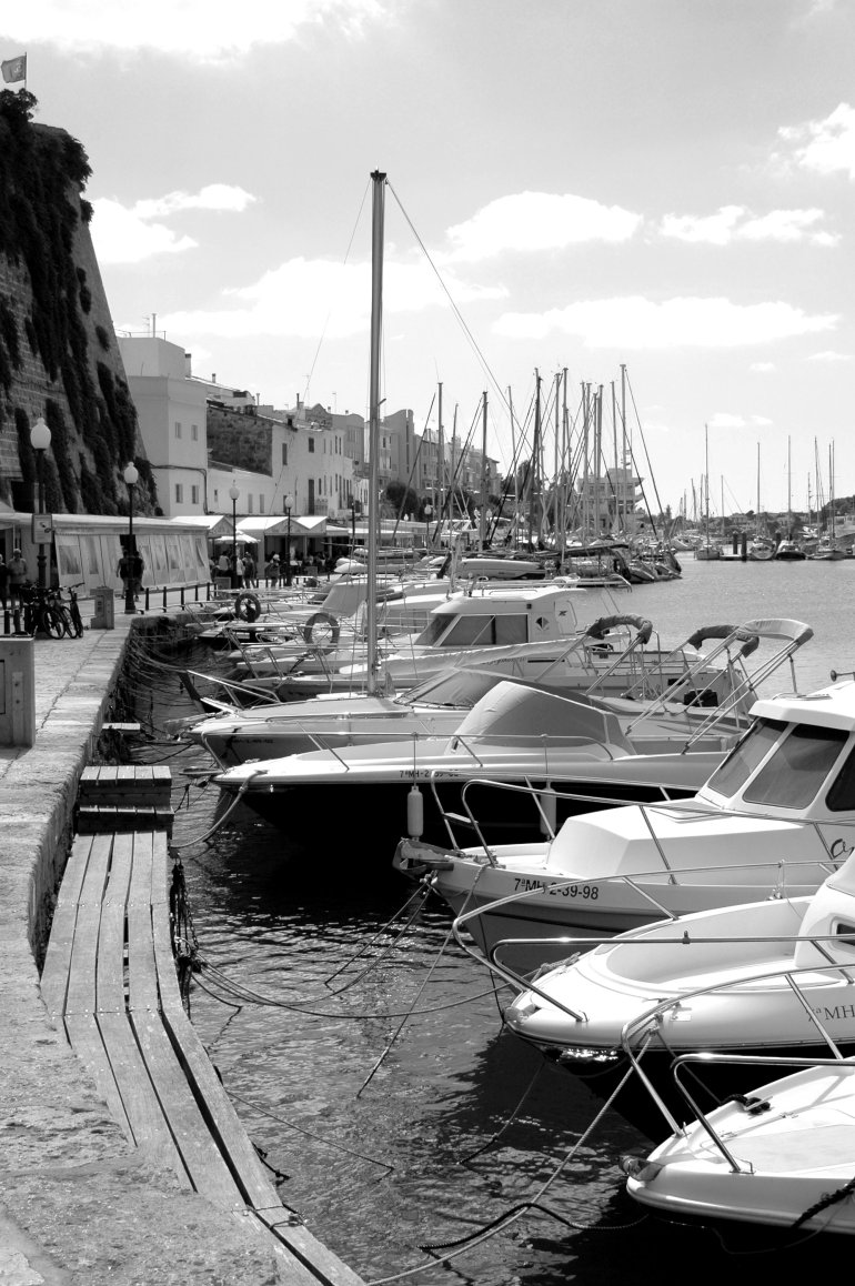 Boats moored in Menorca's Ciutadella harbour