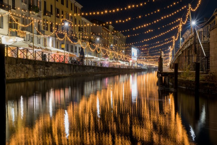 Reflections in Navigli Grand at night - Travel Notes on Milan, Italy