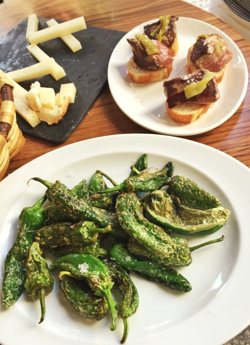 Padron peppers, solomillo, and cheese