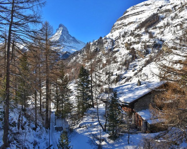 The view of the Matterhorn from our chalet, Zermatt