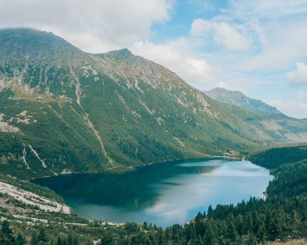 view of morskie oko from above