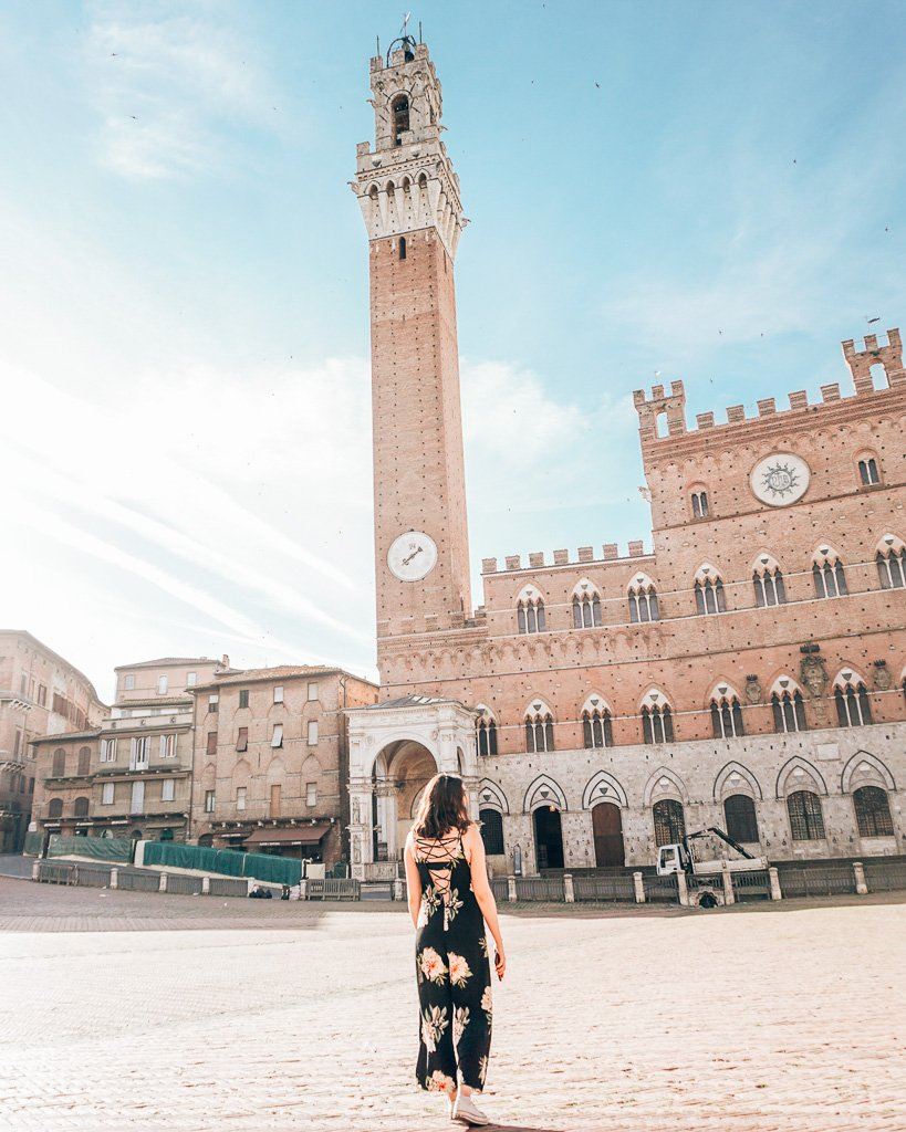 Main square and tower in Siena