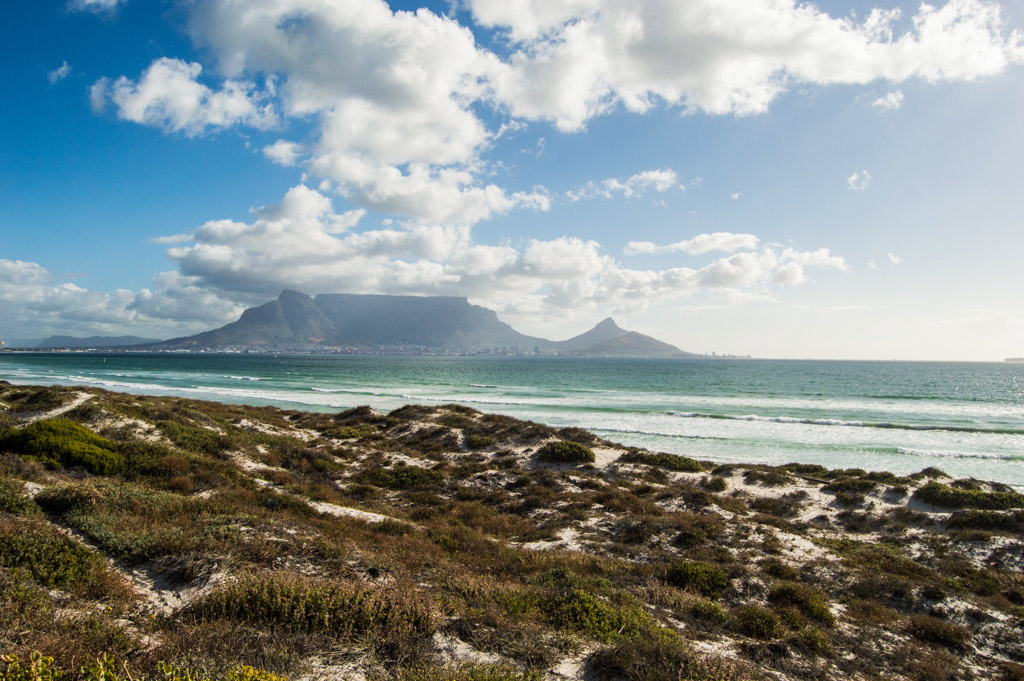 View of Table Mountain from Dolphin Beach in Cape Town, South Africa