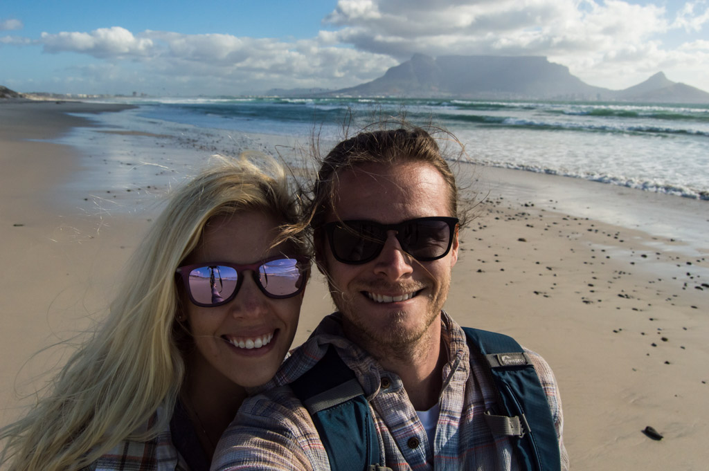 Posing for a selfie with Table Mountain in the background