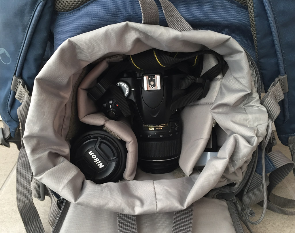 Our Lowepro camera backpack is just big enough to house our Nikon D3200 with two lenses