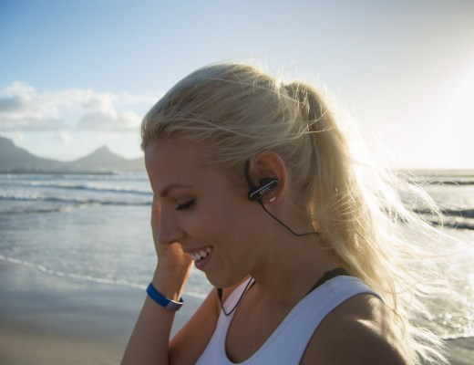 Testing out the Specter Wireless Efitz Wireless Earbuds on a beach in Cape Town, South Africa