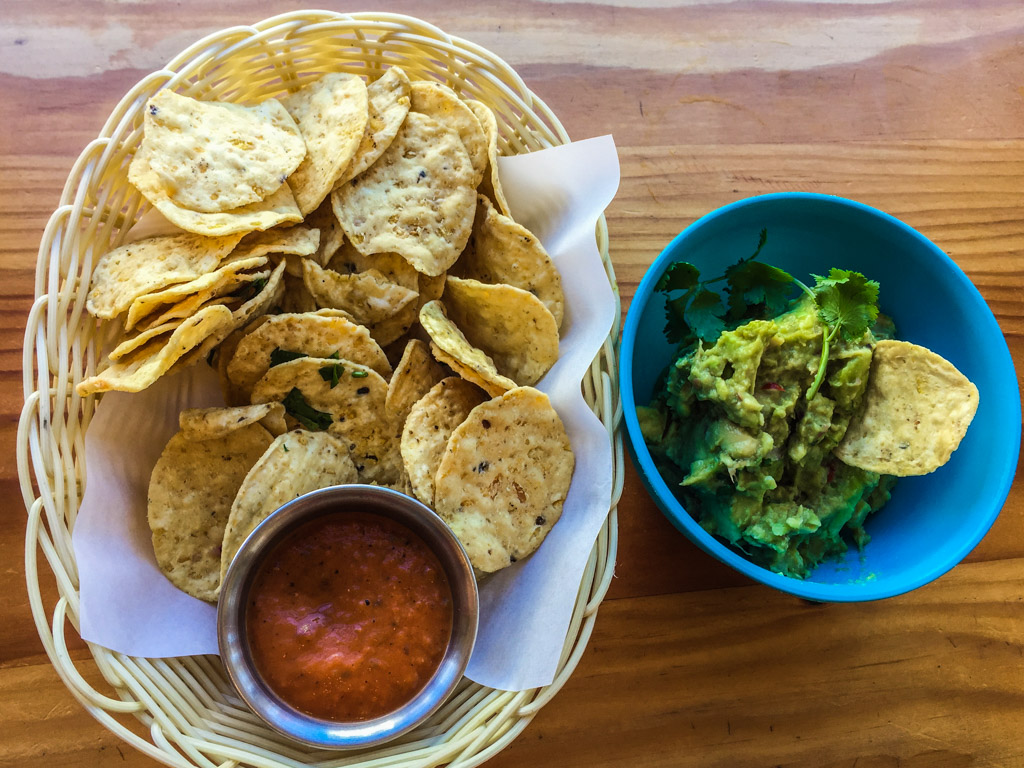 The delicious homemade corn chips and guacamole - a must have