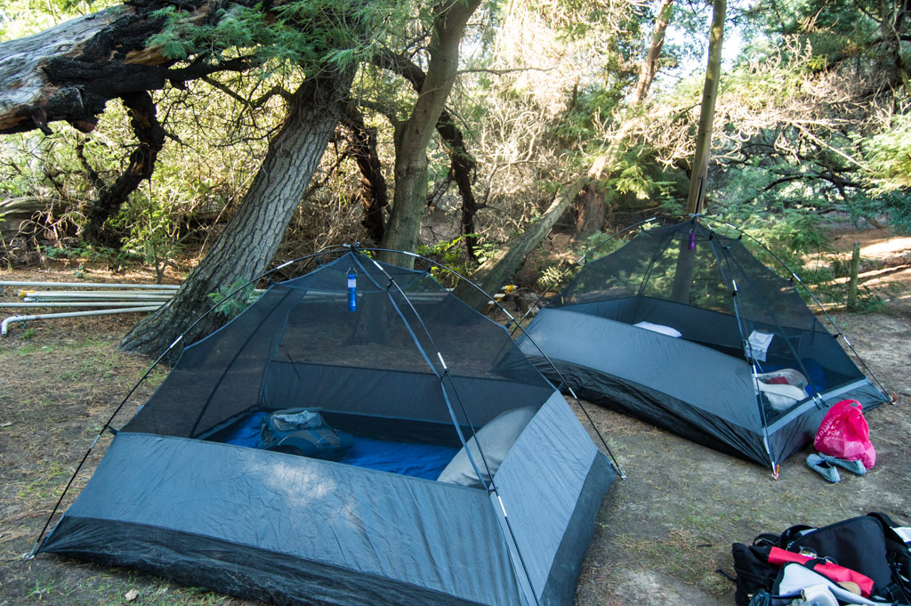 Our tents nestled into the woods at Rivierplaas.