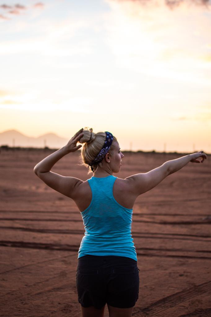 Sunset over the Namibian desert from Betta Campsite.
