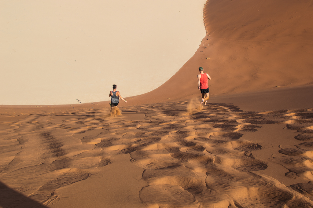Tyler and Max run down the dune at full speed!