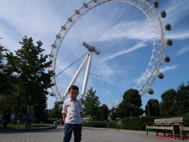 family day in london - BattleKid standing in front of the London Eye