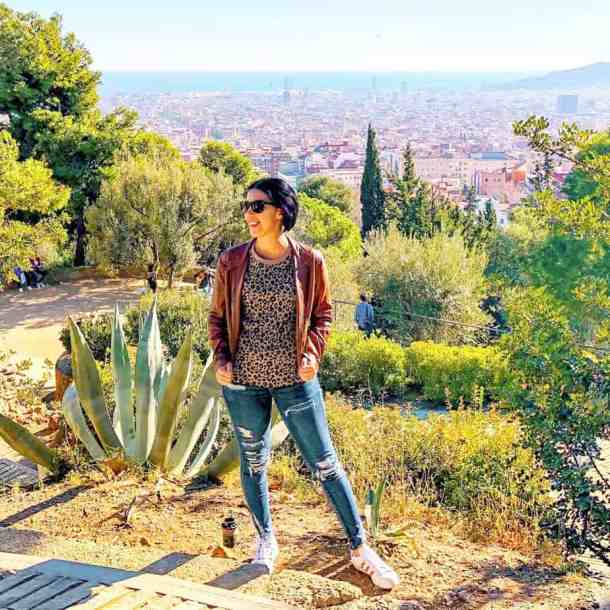 Park Guell in Barcelona Spain with a graphic tee