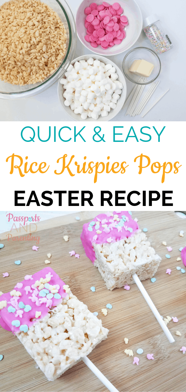 Our whole family loves Rice Krispies treats as a fun snack or dessert, but they can be sticky and messy. Check out this easy Rice Krispies pops receipe for Easter.