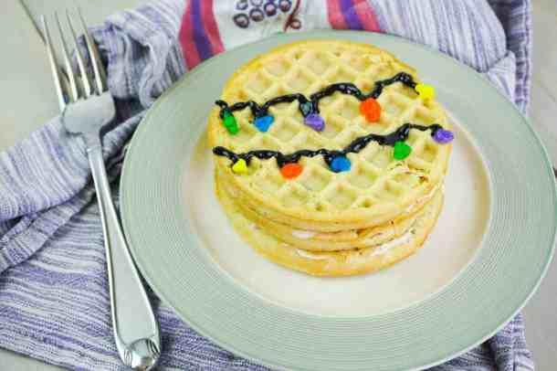 Stranger Things Season 3 inspired finished waffle cake.