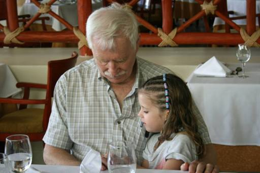 My daughter bonding with Great Grandpa