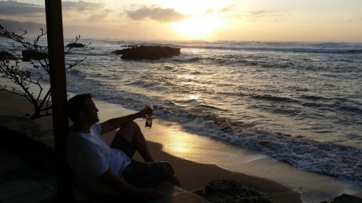 Sam enjoys Sunset, North Shore, Oahu