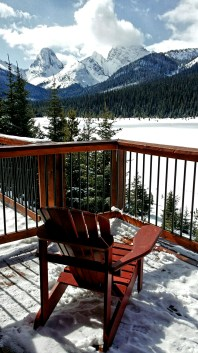 Deck of the Whiskey Jack Cabin, Mount Engadine Lodge