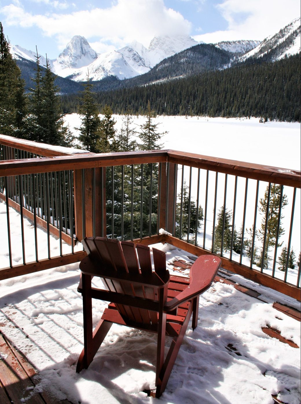 View from the Whiskey Jack Cabin, Mount Engadine Lodge, Kananaskis, Alberta, Canada