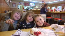 Isabella (7), Giuliana (1), and Lucas (6) enjoying cherry pie at Twedes Café in North Bend, WA