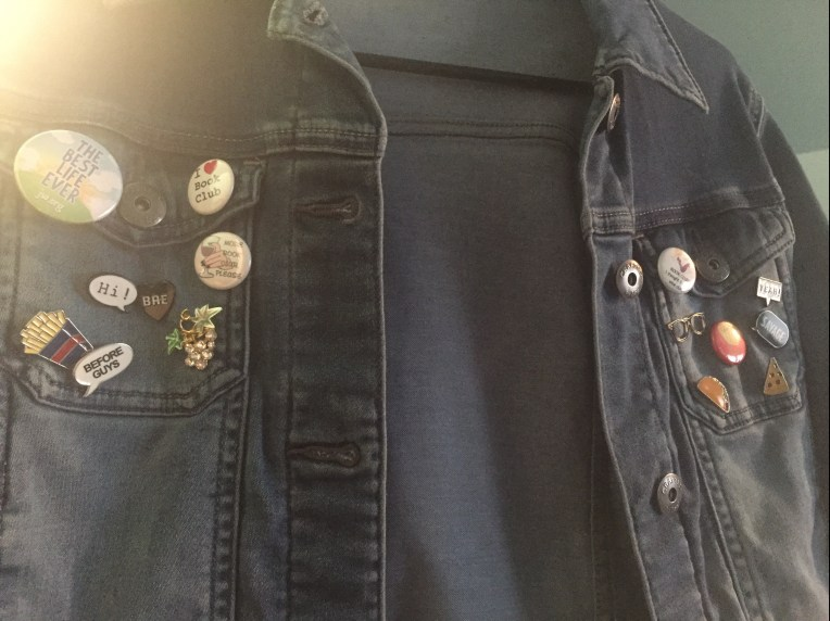 My pin collection on my jean jacket