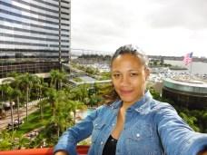 enjoying the hotel balcony