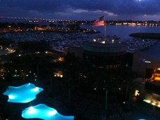 nighttime view of the bay from balcony