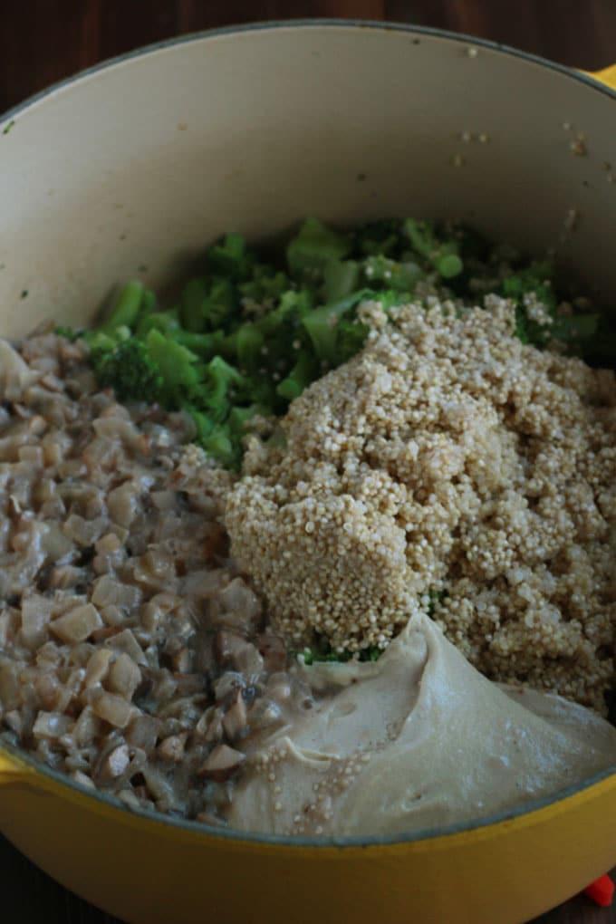 Vegan Broccoli Quinoa Casserole | https://passtheplants.com