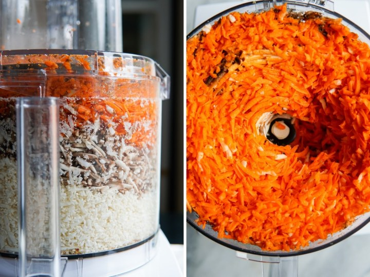 side-by-side photos of ingredients for vegan ground beef after being shredded in a food processor