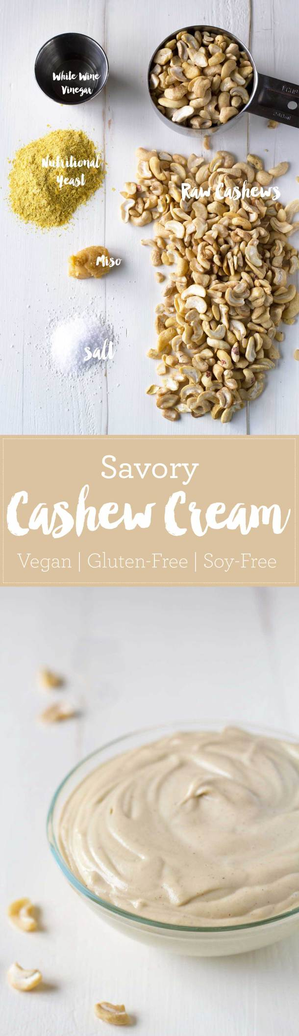 Use this savory cashew cream as a spread, add it to soups as a thickener, or use a soy-free vegan mayonnaise substitute! | https://passtheplants.com