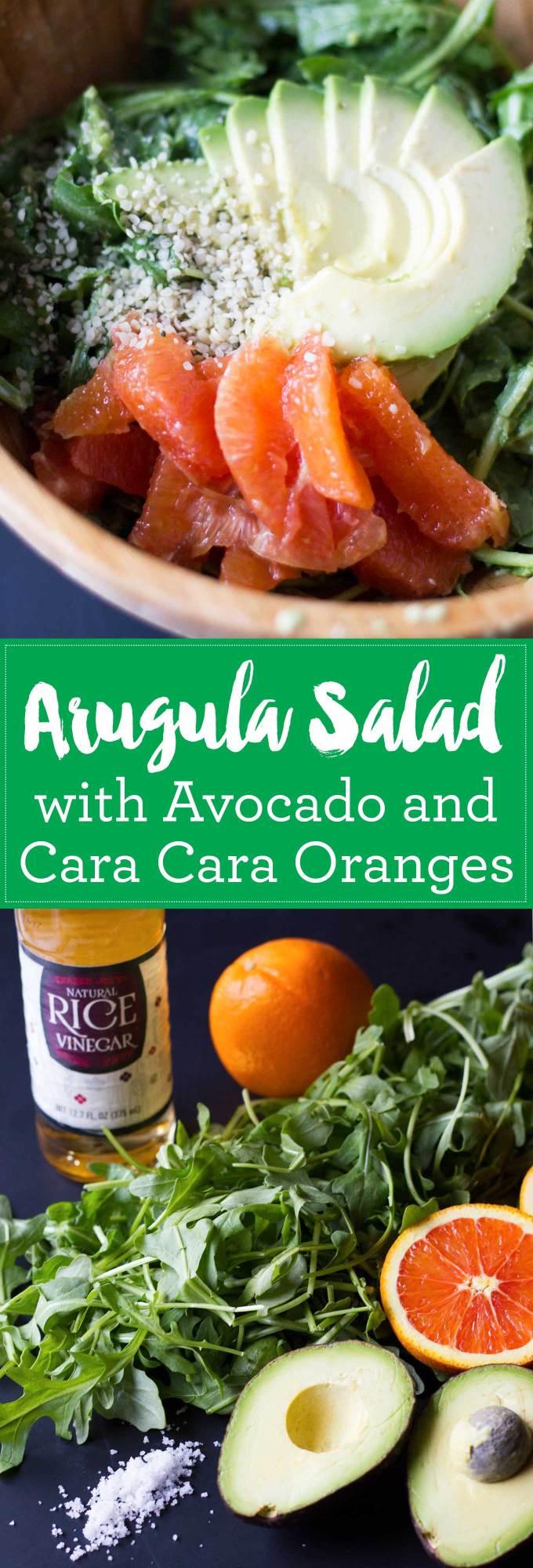 Arugula Salad with Avocado and Cara Cara Oranges - Vegan, Oil-Free, Gluten-Free| https://passtheplants.com