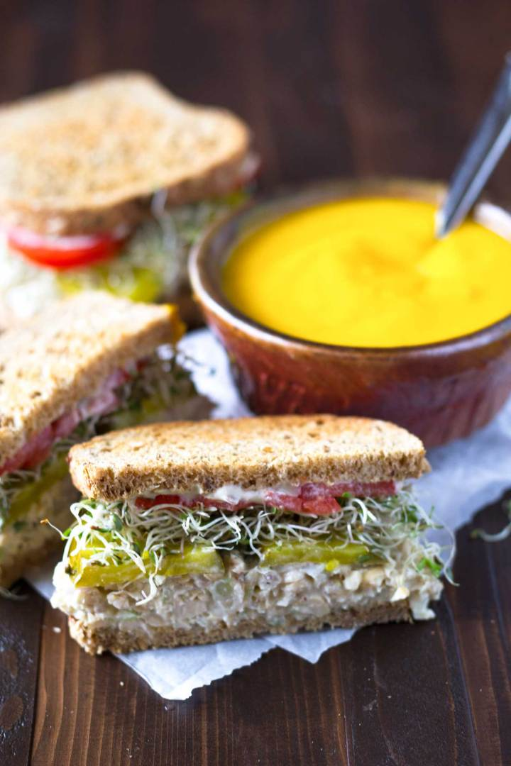 These chickpea salad sandwiches are packed with protein and fiber, and are oil-free to boot! Made with an unusual technique to keep the texture from being mushy. Vegan, oil-free. https://passtheplants.com