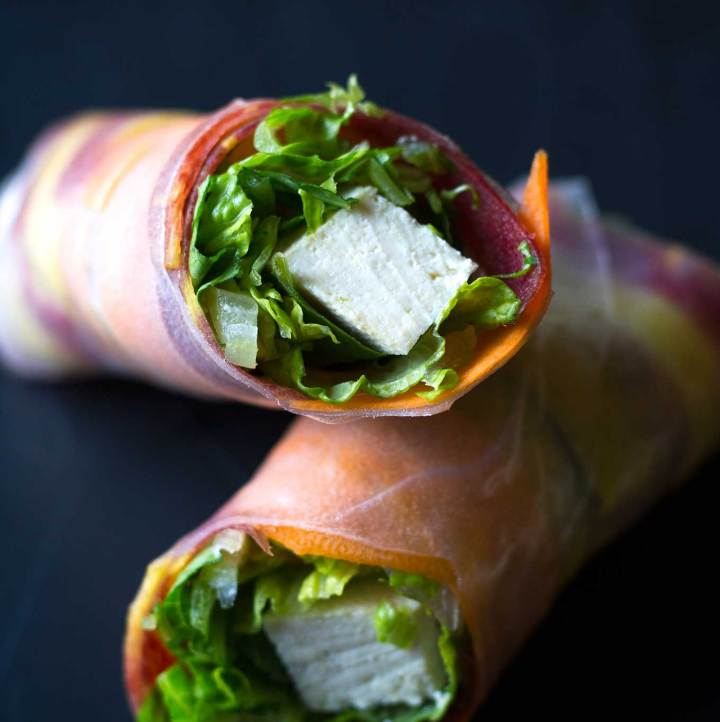 These easy vegan salad rolls (or spring rolls) are fresh and flavorful, and a feast for the eyes! Pair them with sweet potato peanut sauce for a healthy meal or snack! | https://passtheplants.com