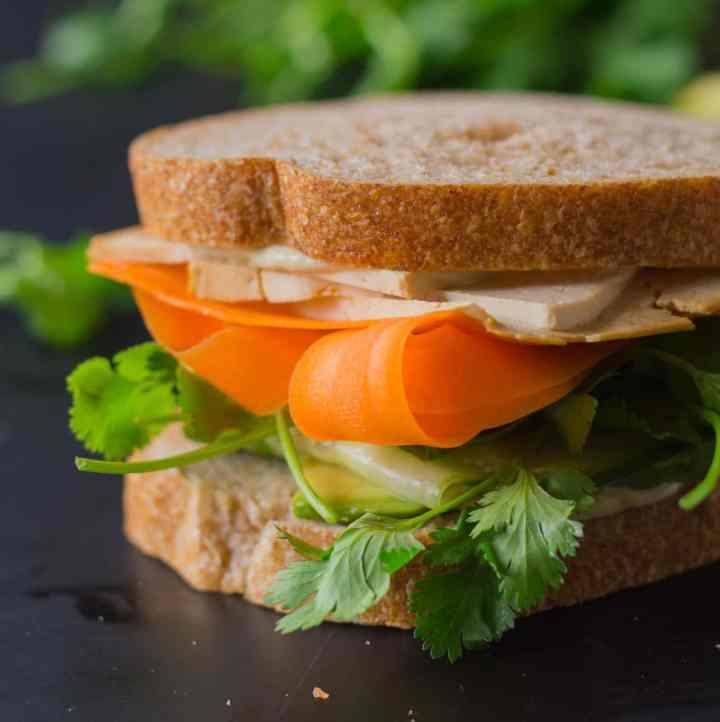 """Tofusion"" Vegetable Sandwich - Asian flavors converge in this surprisingly delicious sandwich! Make lunch more adventurous! Vegan, Oil-free | https://passtheplants.com"