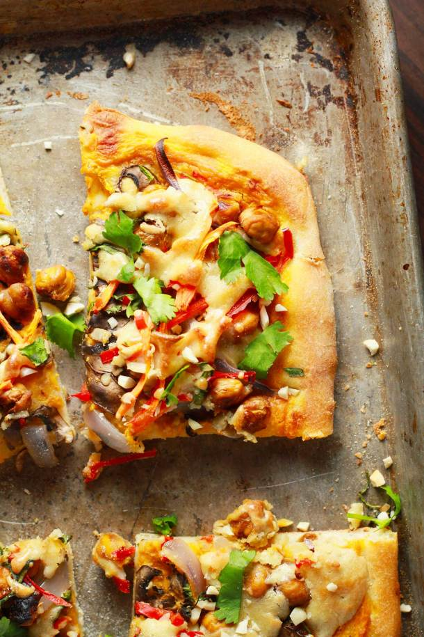Vegan Thai Chickpea Pizza