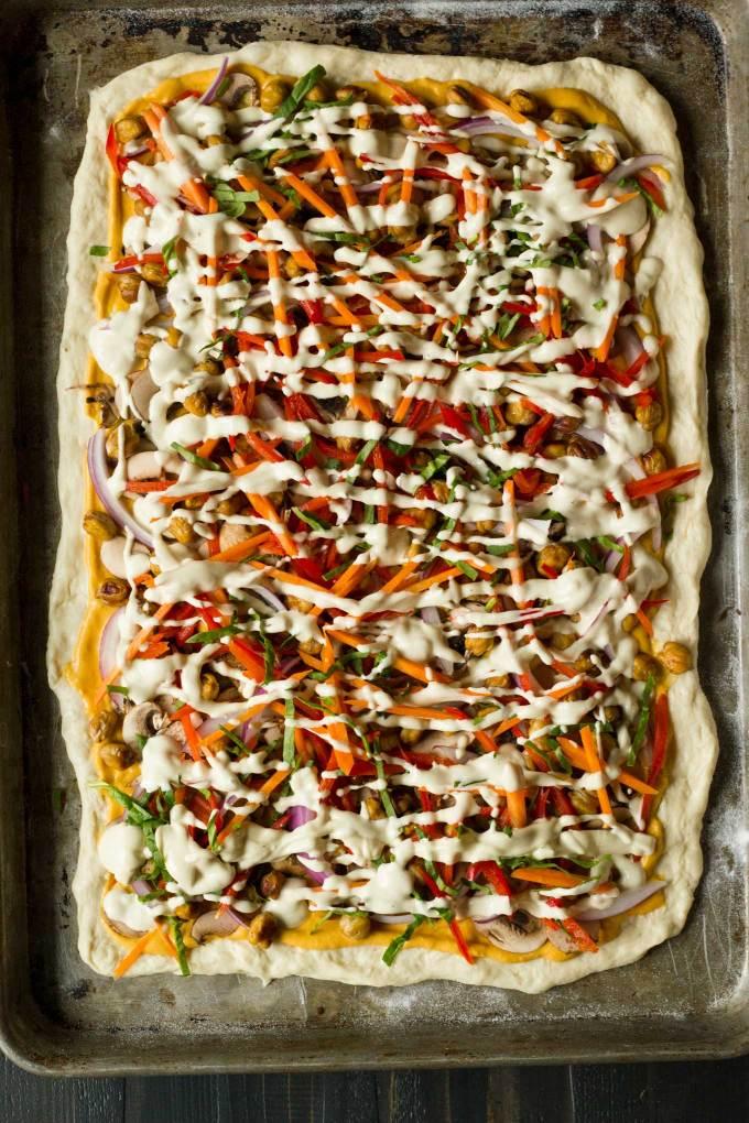 Vegan Thai Chickpea Pizza with Sweet Potato Peanut Sauce   https://passtheplants.com