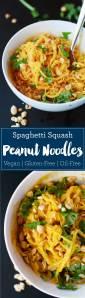 Spaghetti Squash Peanut Noodles   Vegan   Plant-based   WFPB   Gluten-free   Oil-Free   Recipe   https://passtheplants.com/