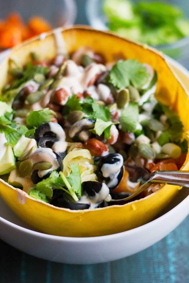Spaghetti Squash Burrito Bowls | Gluten-free | Vegan | Plant-based | Recipe | Grain-free | Oil-free | https://passtheplants.com/