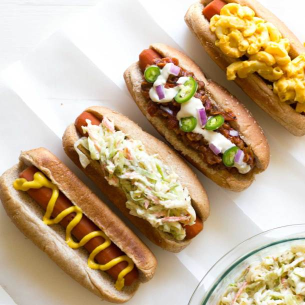 Perfect Vegan Coleslaw | Vegan coleslaw as topping on carrot dog | Plant-based | Oil-free | https://passtheplants.com/