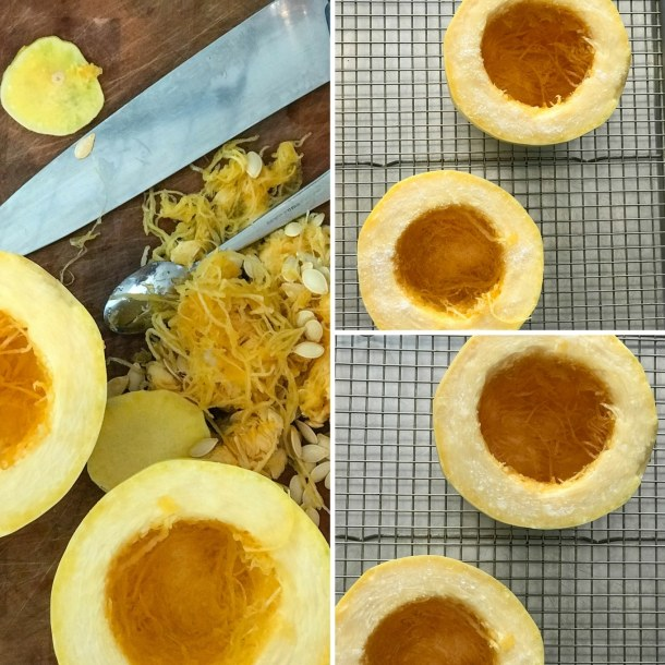 Spaghetti Squash Vegan Pho   Squash on cutting board and baking sheet, cut in half horizontally, salted to draw out moisture   https://passtheplants.com/
