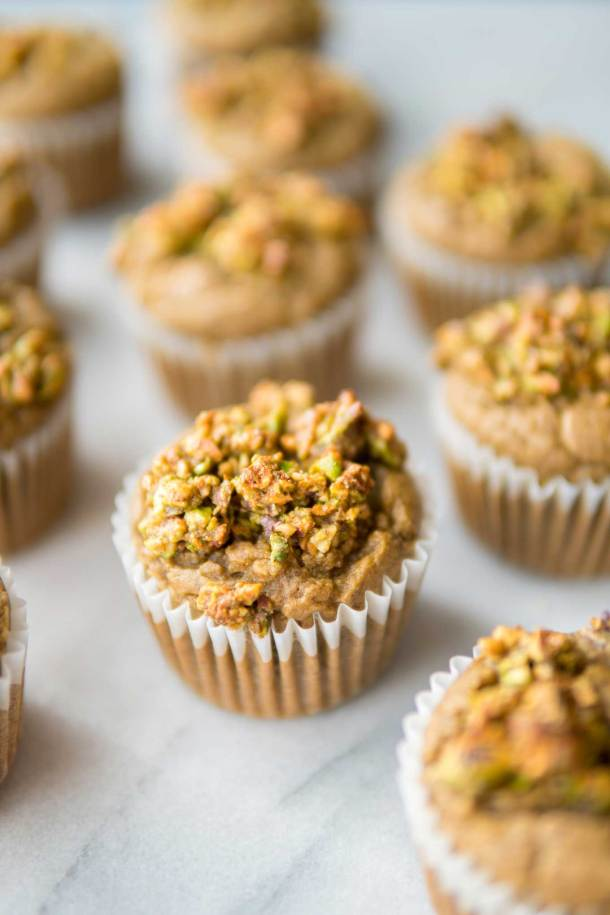 pistachio cardamom blender muffins out of the oven
