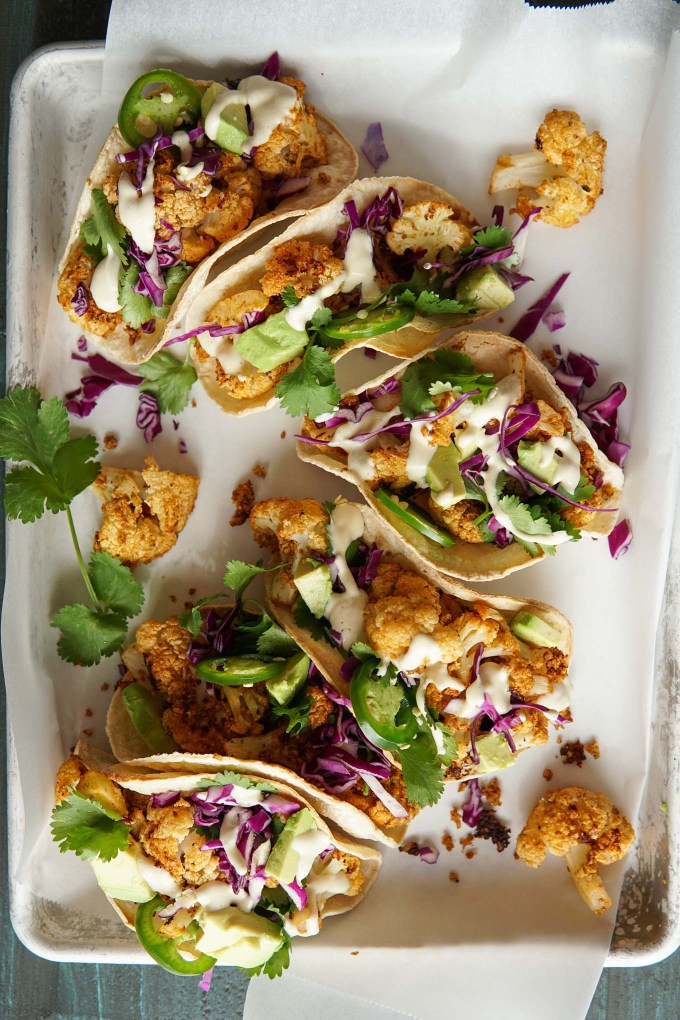 Overhead image of Chipotle Cauliflower Tacos on baking sheet
