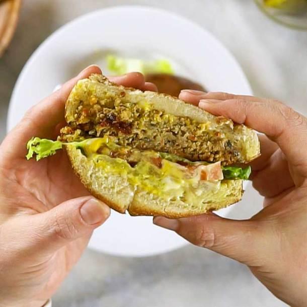 Cross-section of vegan veggie burger to show texture.