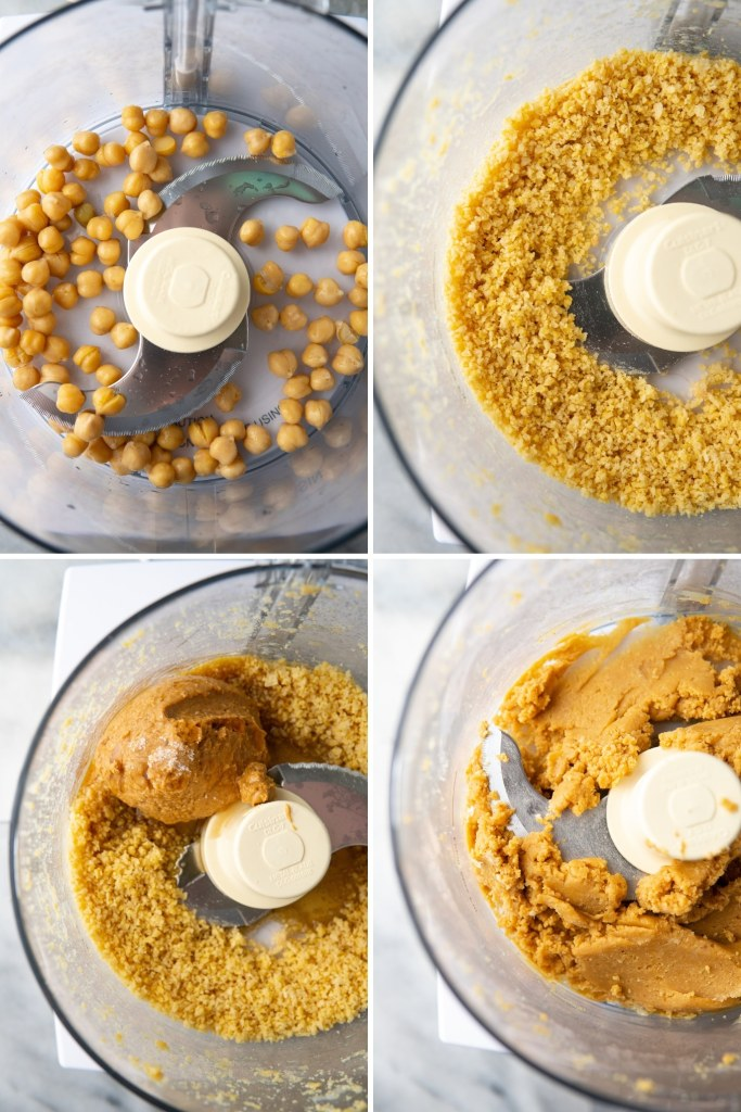 chickpeas, peanut butter, maple syrup in a food processor to make vegan peanut butter eggs