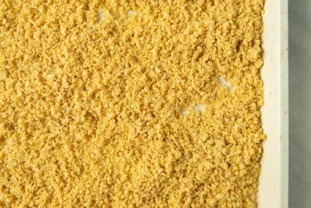 chickpea crumbs on baking sheet