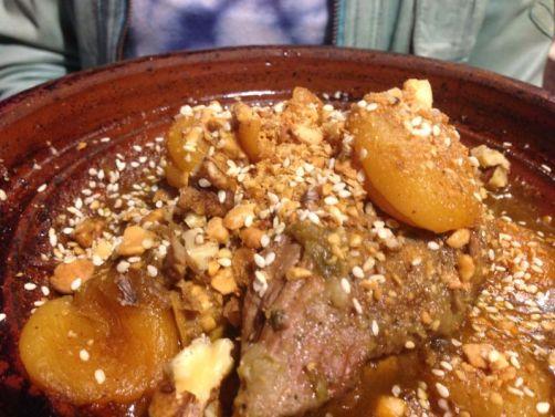Lamb tagine with apricots, walnuts, almonds and cinnamon.